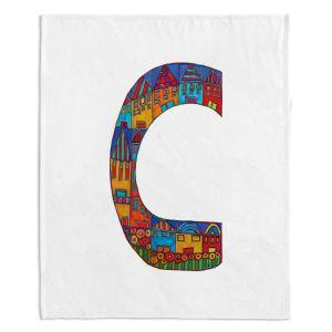 Artistic Sherpa Pile Blankets | Dora Ficher Alphabet Letter C
