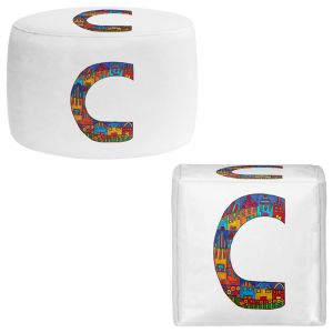 Round and Square Ottoman Foot Stools | Dora Ficher - Alphabet Letter C