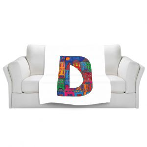 Artistic Sherpa Pile Blankets | Dora Ficher Alphabet Letter D