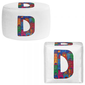 Round and Square Ottoman Foot Stools | Dora Ficher - Alphabet Letter D