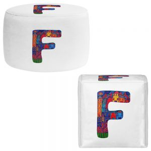 Round and Square Ottoman Foot Stools | Dora Ficher - Alphabet Letter F
