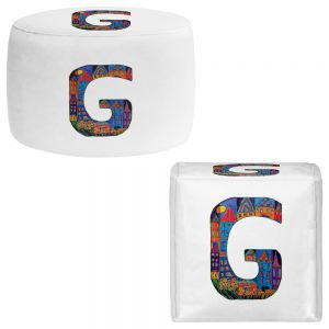Round and Square Ottoman Foot Stools | Dora Ficher - Alphabet Letter G
