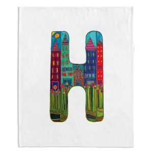 Artistic Sherpa Pile Blankets | Dora Ficher Alphabet Letter H