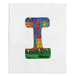 Artistic Sherpa Pile Blankets | Dora Ficher Alphabet Letter I