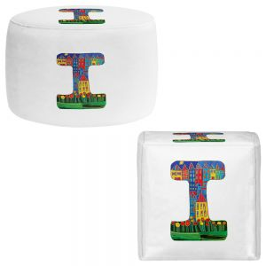 Round and Square Ottoman Foot Stools | Dora Ficher - Alphabet Letter I