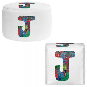 Round and Square Ottoman Foot Stools | Dora Ficher - Alphabet Letter J