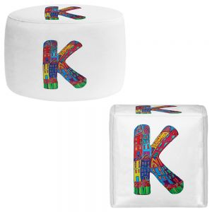 Round and Square Ottoman Foot Stools | Dora Ficher - Alphabet Letter K