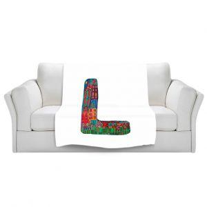 Artistic Sherpa Pile Blankets | Dora Ficher Alphabet Letter L