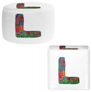 Round and Square Ottoman Foot Stools | Dora Ficher - Alphabet Letter L