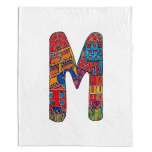 Artistic Sherpa Pile Blankets | Dora Ficher Alphabet Letter M