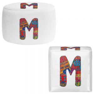 Round and Square Ottoman Foot Stools | Dora Ficher - Alphabet Letter M