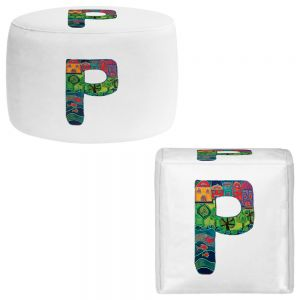 Round and Square Ottoman Foot Stools | Dora Ficher - Alphabet Letter P