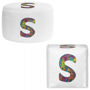 Round and Square Ottoman Foot Stools | Dora Ficher - Alphabet Letter S