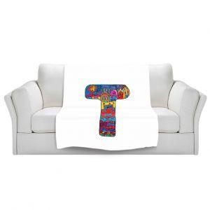 Artistic Sherpa Pile Blankets | Dora Ficher Alphabet Letter T