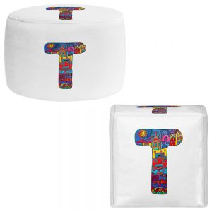 Round and Square Ottoman Foot Stools | Dora Ficher - Alphabet Letter T
