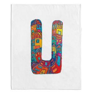 Artistic Sherpa Pile Blankets | Dora Ficher Alphabet Letter U