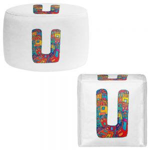 Round and Square Ottoman Foot Stools | Dora Ficher - Alphabet Letter U