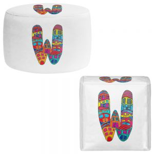 Round and Square Ottoman Foot Stools | Dora Ficher - Alphabet Letter W
