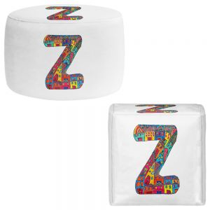 Round and Square Ottoman Foot Stools | Dora Ficher - Alphabet Letter Z
