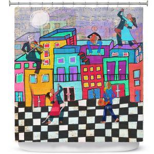 Premium Shower Curtains | Dora Ficher - Bailando el Tango | city dancing street
