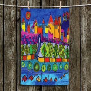 Unique Hanging Tea Towels   Dora Ficher - Blue Mountain   Castle Trees Fish