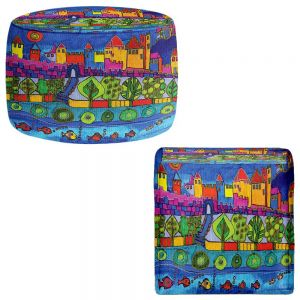 Round and Square Ottoman Foot Stools | Dora Ficher - Blue Mountain