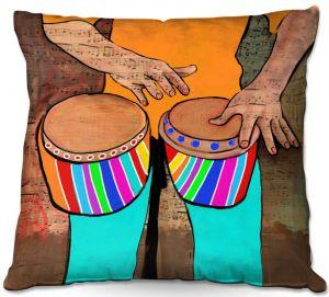 Throw Pillows Decorative Artistic   Dora Ficher - Bump Bump Bump   drums bongos instrument music