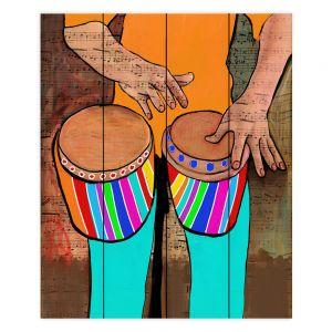 Decorative Wood Plank Wall Art | Dora Ficher - Bump Bump Bump | drums bongos instrument music