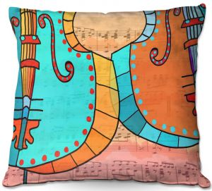 Throw Pillows Decorative Artistic | Dora Ficher - Cellos Play | string instrument music