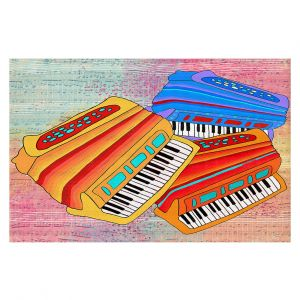 Decorative Floor Covering Mats | Dora Ficher - Colorful Accordians | instrument music