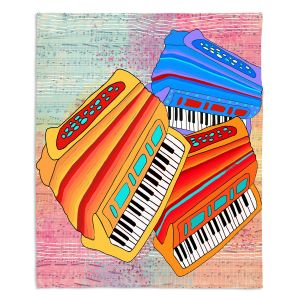 Decorative Fleece Throw Blankets | Dora Ficher - Colorful Accordians | instrument music