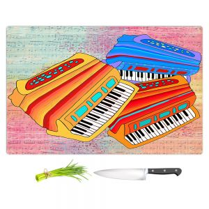 Artistic Kitchen Bar Cutting Boards | Dora Ficher - Colorful Accordians | instrument music