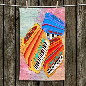 Unique Hanging Tea Towels | Dora Ficher - Colorful Accordians | instrument music