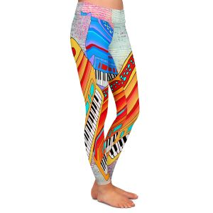 Casual Comfortable Leggings | Dora Ficher - Colorful Accordians | instrument music