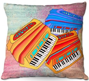 Decorative Outdoor Patio Pillow Cushion | Dora Ficher - Colorful Accordians | instrument music