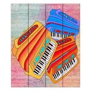 Decorative Wood Plank Wall Art   Dora Ficher - Colorful Accordians   instrument music
