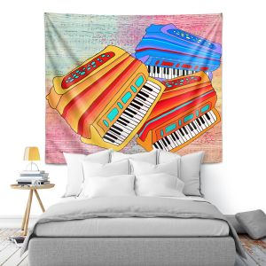 Artistic Wall Tapestry | Dora Ficher - Colorful Accordians | instrument music