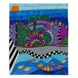 Decorative Fleece Throw Blankets | Dora Ficher - Colorful Hills