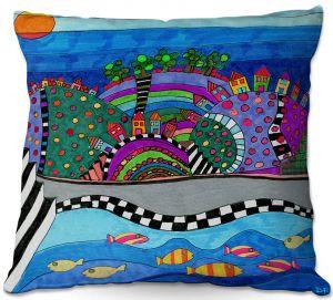 Decorative Outdoor Patio Pillow Cushion | Dora Ficher - Colorful Hills