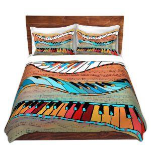 Artistic Duvet Covers and Shams Bedding   Dora Ficher - Dancing Keys   keyboard piano music instrument