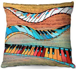 Decorative Outdoor Patio Pillow Cushion | Dora Ficher - Dancing Keys | keyboard piano music instrument