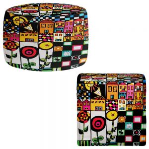 Round and Square Ottoman Foot Stools | Dora Ficher - Doodle Day