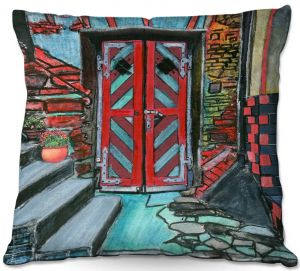 Decorative Outdoor Patio Pillow Cushion | Dora Ficher - Door Bottom Steps | Scene architecture window setting