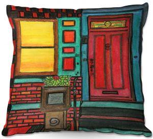Throw Pillows Decorative Artistic | Dora Ficher - Door 888 | Scene architecture window setting