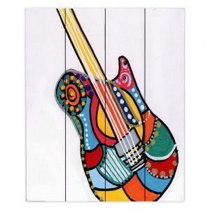 Decorative Wood Plank Wall Art | Dora Ficher - Electric Guitar | string instrument music rock