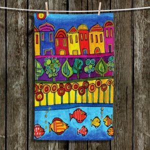 Unique Hanging Tea Towels | Dora Ficher - Fishing Village | Fish Water Trees Houses