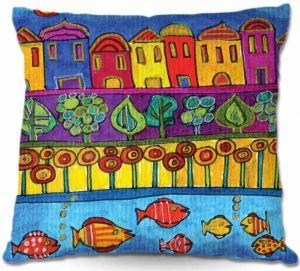 Decorative Outdoor Patio Pillow Cushion | Dora Ficher - Fishing Village