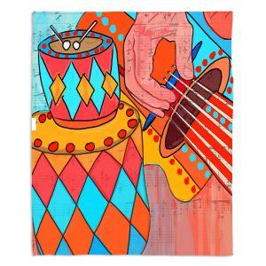 Decorative Fleece Throw Blankets | Dora Ficher - Folk Song | drums guitar music instrument