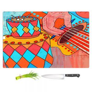 Artistic Kitchen Bar Cutting Boards | Dora Ficher - Folk Song | drums guitar music instrument