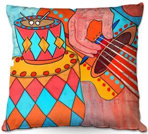 Throw Pillows Decorative Artistic   Dora Ficher - Folk Song   drums guitar music instrument
